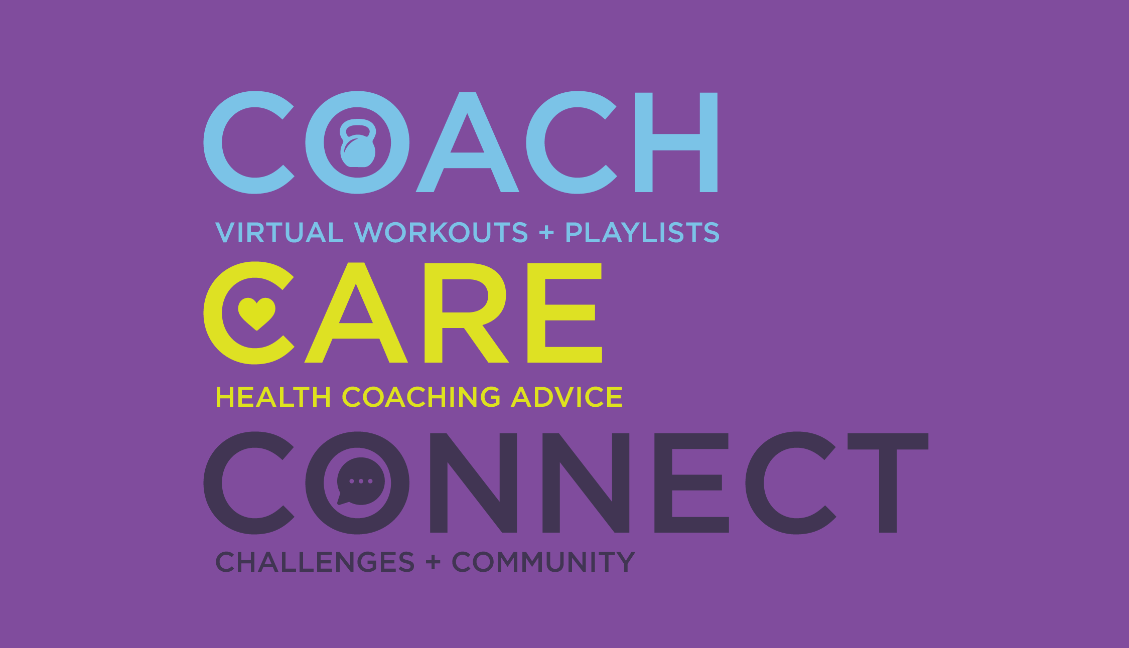 Coach. Virtual Workouts + Playlists. Care. Health Coaching Advice. Connect. Challenges + Community.