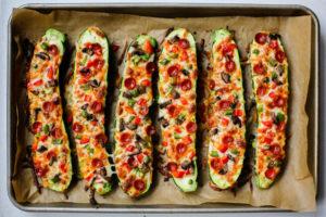 Roasted Pizza Zuchinni Boats